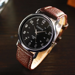 HongC Casual Mens Watches Top Brand Luxury Quartz Waterproof Sport Military clock Leather Black dial brown str men