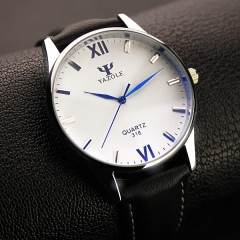 Quartz Watch Men HongC Brand Luxury Famous Wristwatches Male Clock Leather Wrist Watch white watch dial black watchband
