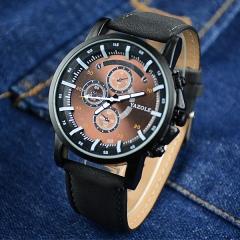HongC Fashion Quartz Watch Men Watches Top Brand Luxury Famous Male Clock Wrist watch brown dial black watchband