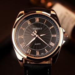 Men Watch Luxury Top Brand Dropshipping business Male Clock Quartz-WristWatch Leisure Leather watch black dial black strap