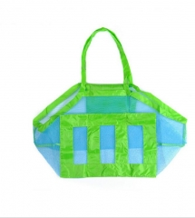 Beach Toy Tote Bag Big Mesh Shell Bag for Beach Swimming Pool blue&green