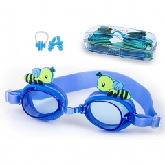 Kids Swim Goggles, Anti Fog UV Protection Leakproof Goggles for Children Youth Eary Teens blue bee