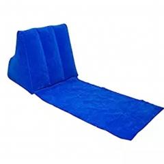 Inflatable Beach Lounge Chair Mat Air Pillow Cushion Portable Relax Couch for Camping Beach blue 1