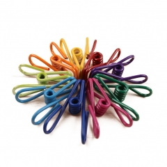 Steel Wire Clips Holders PVC-Coated Mini Pegs Clamps Seal Clip Assorted Colors 10 PCs Muti-color