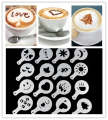 Coffee Barista Stencils Fancy Coffee Printing Model Set of 16 white set of 16