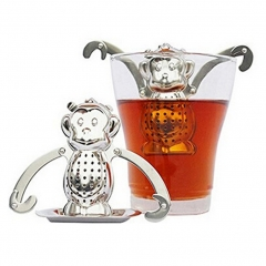 Tea Infuser Drip Tray Stainless Steel Dunkin Monkey silver one size