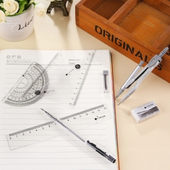 Math Set Straight Triangle Protractor Compass 8Pcs Geometry Projects Tool Kits School Supply Silver one size