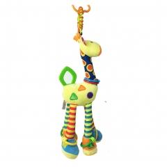 Giraffe Rattle Handbells Plush Toy Infant Musical Developmental Toys for Crib, stroller, Chair, Car 1 one size