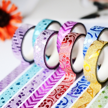 Tape Washi Masking Decorative Glitter Sticky 10 Rolls for DIY Arts Cards Scrapbooking 1 one size