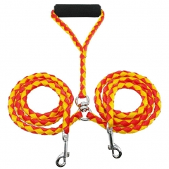 Dual Double Dog Leash No Tangle with Swivel for Two Small/Medium Dogs Red+Yellow one size