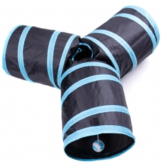 3 Way Cat Tunnel, Collapsible Crinkle Cat Tubes Toy with Ball for Cat, Puppy, Kitten, Rabbit blue+black one size
