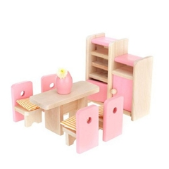 Wooden Doll House Furniture Kids Educational Toy Sets Decoration Pretend Play Children Gift dining room one size