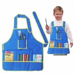 Kids Art Apron Waterproof Smock for Painting, Kitchen with Multiple Pocket for 5-9 Years Old blue one size