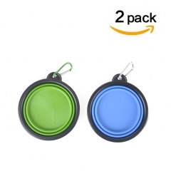 Collapsible Dog Bowls, Silicone Portable Pop-up Pet Bowls Travel Bowls for Feed & Water Pack of 2 1 green 1 blue one size