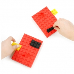 Building Block Notebook DIY Notes Paper Creative Gift Party Pack Puzzle Colorful red one size