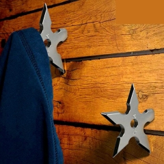 Coat Hooks Ninja Throwing Darts Star Stainless Steel Creative Clothes Hats Hanger Holder silver one size