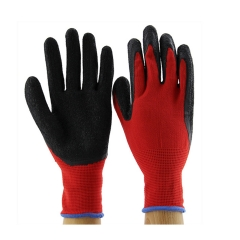 Work Gloves Rubber Latex Coated Full Finger for General Purpose Gloves Black& Red one color 8