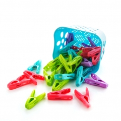 30 Pack Clothes Pins Pegs with Basket Assorted Colors Plastic Windproof ramdom one size