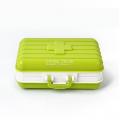 First Aid Kit Medical Storage Case Travel Medicine Box Pill 6 Compartments Storage Box Holder green