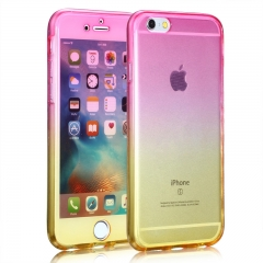 Iphone Case Cover Silicone Soft Protective Front Back 360 Degree Gradient Colors Case yellow&pink 6