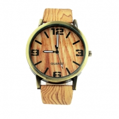 Wristwatch Quartz Movement Wood Grain with Leather Band Men Women Wrist Watch Brown