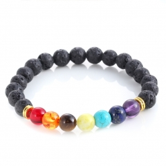 Reiki 7 Gemstone Chakra Lava Rock Stone Spacer Healing Bead Bangle Bracelet