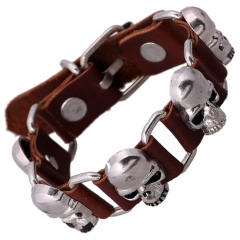 Cool Leather Bracelet Skull Head Handcraft Bangle Cuff Wristband Rock Punk Biker Bracelet Gift brown 1