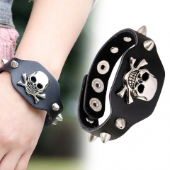 Cool Leather Bracelet Skull Head Bangle Cuff Wristband Rock Punk Biker Bracelet Wide Strap Black one size