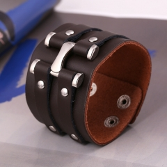 Stunning Cool Leather Bracelet Bangle Cuff Wristband  Biker Bracelet Wide Strap with Stainless Steel brown one size