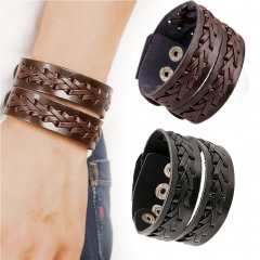 Cool Leather Bracelet Gipsy Kings Weaving Style Cuff Wristband Bangle Fashion brown one size