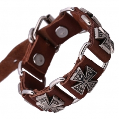 Cool Leather Bracelet Handcraft Bangle Cuff Wristband Heavy Metal Rock Punk Biker Wrap Band Cross flower