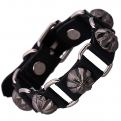 Stunning Cool Leather Bracelet Vintage Bangle Cuff Wristband Rock Punk Biker Bracelet black one size