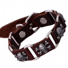 Cool Leather Bracelet Pirate Style Bangle Vintage Cuff Wristband Rock Punk Biker Bracelet brown one size