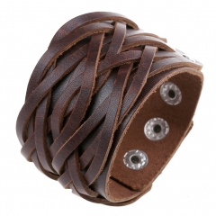 Cool Leather Bracelet Braided Handcraft Bangle Leather Cuff Wristband  Biker Wide Strap with Snap brown
