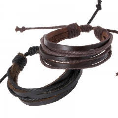 Adjustable Leather Bracelet Bangle Cuff Wax Rope Wristband Rock Punk Biker Bracelet Brown one size
