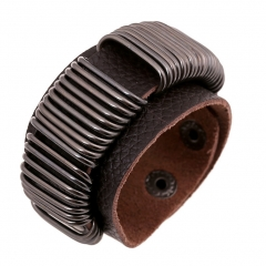 Cool Leather Bracelet Iron Hoops Handcraft Bangle Leather Cuff Wristband Punk Rock Biker Wide Strap brown