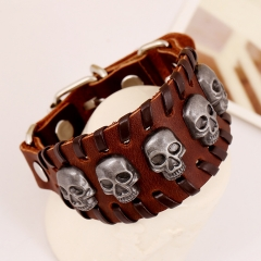 Cool Leather Bracelet Skull Head Handcraft Bangle Leather Cuff Wristband Punk Rock Biker Wide Strap brown one size