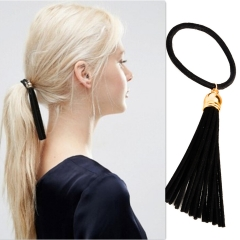 Women Elastic Hair Bands with Tassel, Thick, Black  Package of 2 black one size