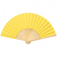 "DIY Paper Fan 7"" Bright Multiple Colors Wooden Openwork Folding Fan yellow one size"