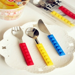 Building Blocks Tableware Block Knife Fork Spoon Creative Flatware Dinnerware Portable Colorful 3Pcs