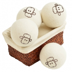 Wool Dryer Balls Natural Fabric Softener Reusable Reduce Wrinkles Saves Drying Time 2PCs white