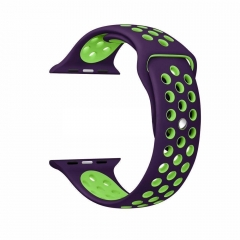 Silicone Bracelet Strap Band Soft Replacement Wristband for Apple Watch Band Series 1 & 2, M/L Size purple+green 38mm