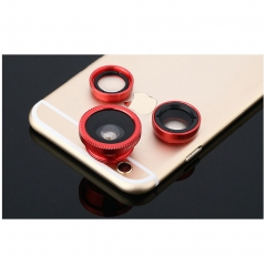 Clip on 3 in 1 Cell Phone Camera Lens Kit Fisheye Lens Wide Angle Lens Macro Lens Universal Fit red