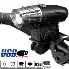 Bicycle Headlight - Super Bright USB Rechargeable MTB Front Light 200LM LED Water Resistant 1 1