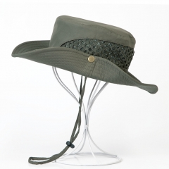 Outdoor Mesh Sun Hat Camouflage Bucket Hats Fishing Hats with String  Caps Sun Protection Boonie Hat green one size