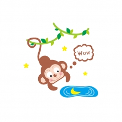 Removable Light Switch Stickers Cute Animals Nursery School Kids Baby Room Wall monkey 1