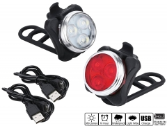 Bike Headlight and Taillight Set Water Resistant USB Rechargeable,4 Light Modes, 350lm for MTB red-white 1