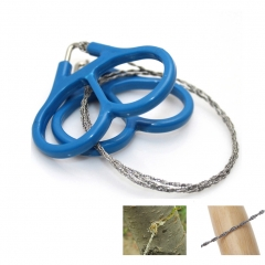 Mini Stainless Steel Wire Saw Emergency Camping Hunting Survival Tool Chain Survival Handsaws 2Pcs blue