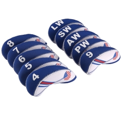 Golf Club Iron Head Cover USA Flag Neoprene Headcover White & Blue 10pcs silvery 10pcs