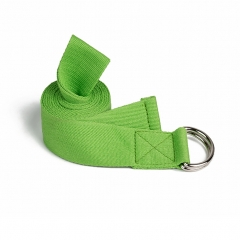 Yoga Stretch Cotton Band Strap for Home, Workout, Sports, Fitness with D-ring Buckle green one size